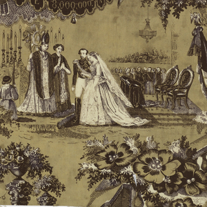 """Printed fragment showing the marriage of Napoleon III to Eugenie. Vignettes are separated by the Column of Vendome with massed standards and a large """"N"""" on a shield and by balustrades with foliage. Design in purple on a buff-colored ground with some areas of the design reserved in white."""