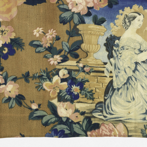 Oblong fragment, probably for a valance, of a coarsely printed cotton in strong colors, now faded. Design shows Empress Eugenie, Napoleon III and the Prince Imperial on the right with the coat of arms for Napoleon III on the left. Both are enframed with floral wreaths etc.