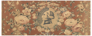 """Central medallion of the head of George Washington framed by flowers and garlands. Dark, murky colors typical of mid-nineteenth-century designs. Text inside medallion reads: """"Washington and Independence"""" and """"4th July 1776."""""""