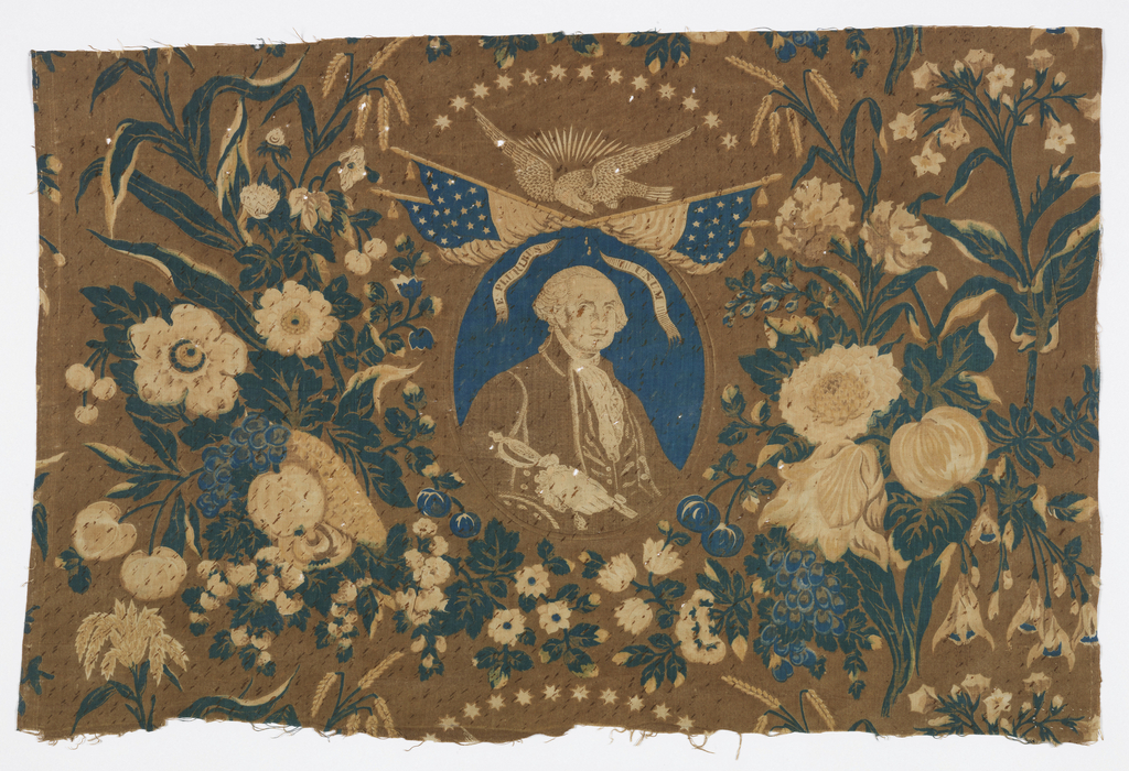 Central medallion with portrait of George Washington under crossed flags within floral frame. Design and coloration is very typical of mid-nineteenth-century textiles.