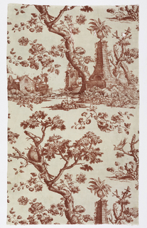 Plate print in red on a white ground. Main motif includes a momument supporting an urn containing a large leafed plant, a cockatoo seated at the base of the monument, a sheep standing in in front of another pedestal in the background; a tall tree with a flowering vine twined around its trunk, a cockatoo perched on a branch of the tree. A second small motif has a country cottage with 2 sheep grazing in the foreground and a birdhouse behind the house. A third motif has a cockatoo in a tree stump entwined by grape vines with a large cluster of grapes on the ground