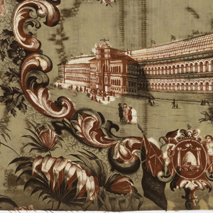 Textile made to commemorate the Paris Universal Exposition of 1855. Half-drop repeat of a scenic oval medallion framed by rococo floral scrolls. Within the medallion: at bottom, a building identified as the Palais de L'Industrie. Above it, a ribbon held by an eagle, and at top, Emperor Napoleon III and Empress Eugenie. The coat of arms of Napoleon III incorporated in the floral frame at the bottom. White ground fabric printed red and deep purple for the pattern and yellow for the background.