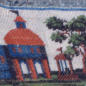 Drawstring bag knitted with colored glass beads with a landscape scene of a river with one man in a rowboat and another fishing from the shore; buildings and a tree on an opposite shore. Blue silk taffeta at the top with a silk drawstring and beaded ball.