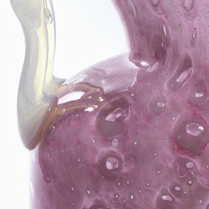 Amphora-shaped vase with flaring neck and low foot of bubbled and mottled rose glass; opalescent white glass handles at shoulder.