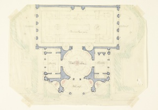H. R. Floor plan: bibliotheque at top flanked by exedrae; vestibule center, flanked by studies.  Entrance, lower section.