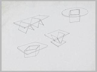 Four studies for tables with transparent tops and geometric pedestals.