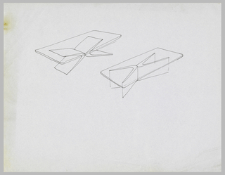Two studies for rectangular tables with transparent tops and sectional pedestals.
