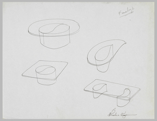 Four studies for tables with transparent tops and tear-shaped pedestals.