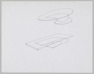 Drawing, Two Studies for Tables with Transparent Cantilevered Tops on Pedestals