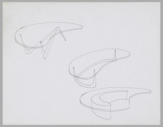 Three studies for tables with transparent kidney-shaped tops and variant biomorphic pedestals.