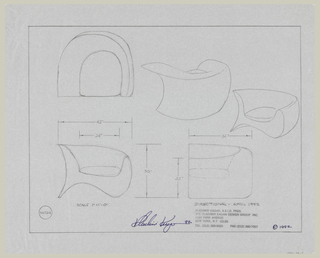 Design for armchair, plans, elevations, and perspectives, including scales.