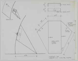 Plan and perspective of support for the Laborious Mantel Clock. Text in graphite throughout.