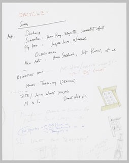 This paper shows a list of names of several twentieth-century artists in black and blue ink and graphite. On the lower right, there are drawings in colored pencil of cupcake pans.