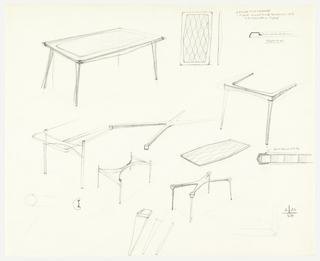 Furniture designs for a table.