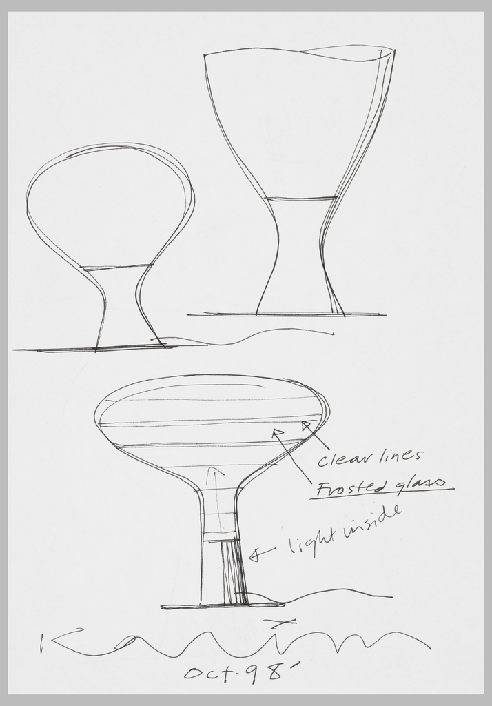 In upper half of sheet, two designs, that on the left in a reversed bulbous form and that on the right in a variant hourglass form. The design in lower half of sheet in mushroom form to be executed in frosted glass with transverse clear lines.  On verso, two design for alternative lamps in mushroom form; the deisgn in upper half is upside down.