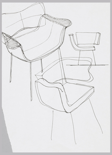 Chair design in upper left corner with wing arm rests, two other designs with wrap-around, integrated back and right side.  Verso:  Design for chair with arc-form seat and single  leg at rear in form of a right-angled sheet.