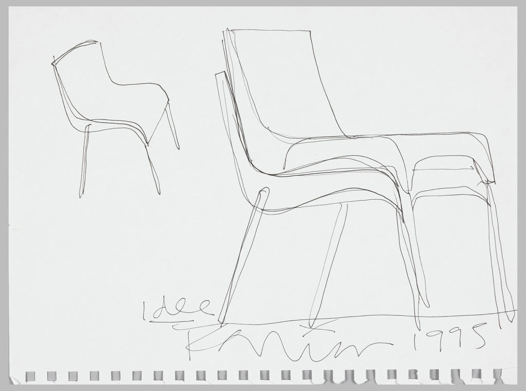 At upper left, a prespective view of single stacking chair; on right half of sheet,  a sketch showing two chairs stacked.