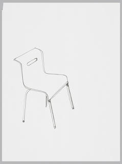 "Perspective view of stacking chair facing right.  Seat and back are integral with rounded ""bent"" corners.  There is a horizontal cut out in upper part of chair back for handling."
