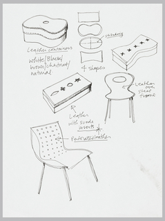 "In upper half of sheet center, four shapes for containers, three of which have been worked-up in perspectival sketches with stitched decoration.  Center right of sheet, front elevation of a chair in an ""Arp-like form.  In lower half, perspective view of chair with perforated decoration on chair back."