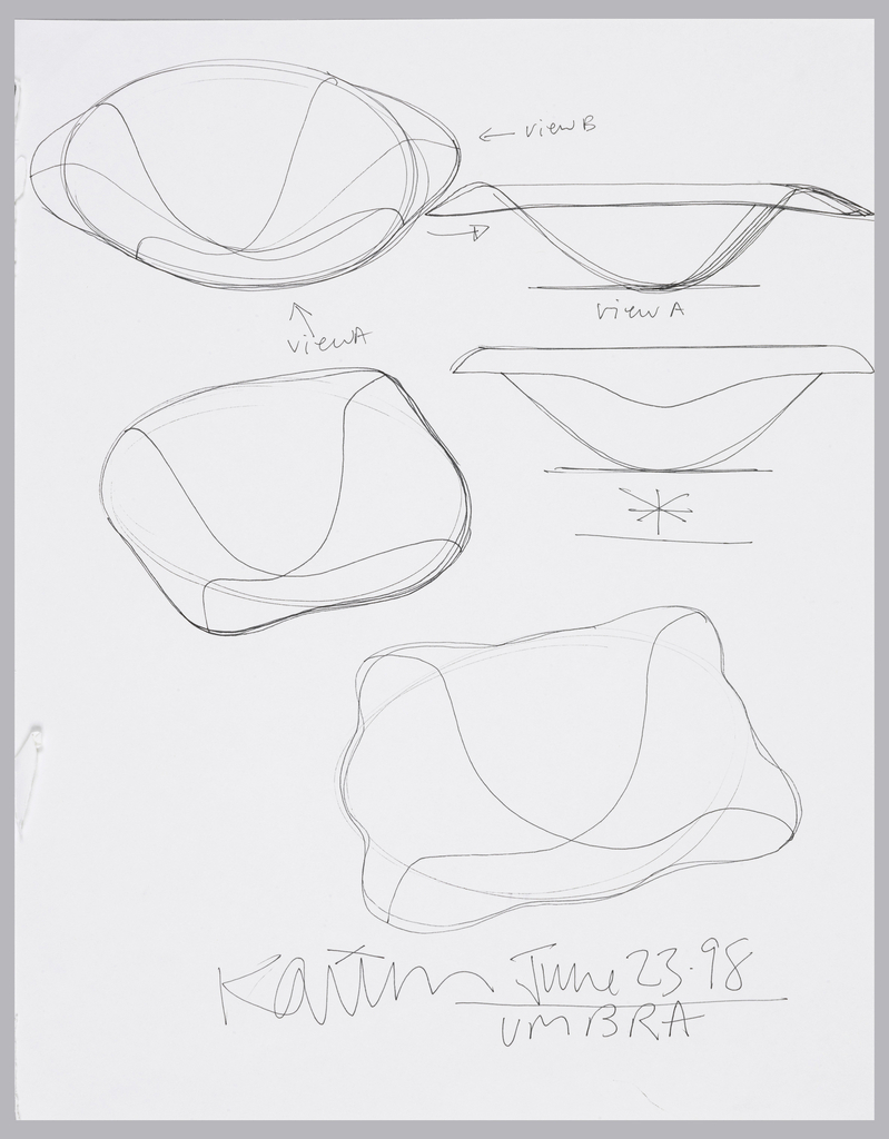 Three perspective views of circular, shallow bowls with different integrated lips. Two side elevations showing two different shapes in profile.