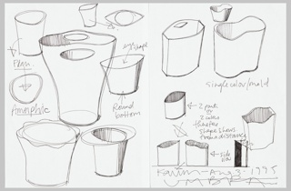 "Two sheets joined together with ""sticky"" tape showing eleven different forms of waste can including the ""Garbo"", elliptical ""eye,"" amorphic and hourglass shapes, some in plan and most in perspective views.   The ""Garbo"" title is play on ""garbage"" referring to the function of the object, and ""Greta Garbo"" alluding to the actress's famous profile mirrored in the shape of the design."