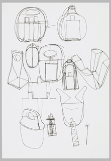 "Eight working sketches showing alternatives for packaging and bottle shpaes to go inside the ""hand-bag""-shaped packaging."