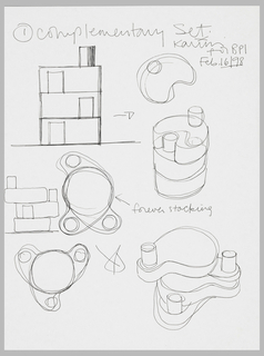 Seven sketches showing alternative views of stacking, rotating set of beauty product bottles; plans of one, two, and three bottles;  side elevations of stacked set, both open and closed; and perspective views of stacked set, open and closed; all showing the relationship of the bottles to each other and as a whole.