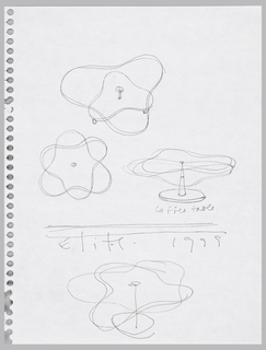 Plan, perspective, side elevation, and high perspective views of coffee table with double trefoil top on single stem leg with base.