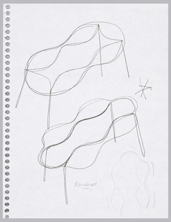 Two alternative tables shown in perspective with hourglass and wavy profiles of table top; and one shown in plan.  Verso:  four sketches for alternative table shapes.
