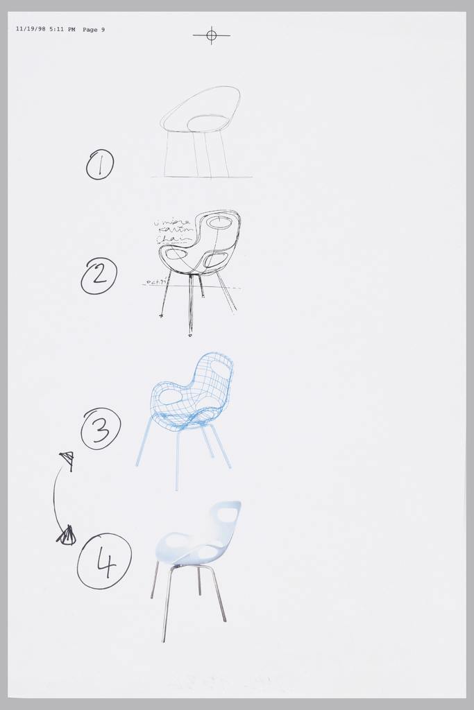 Four Chairs In A Vertical Line Showing The Design Process. Sarting At The  Top: