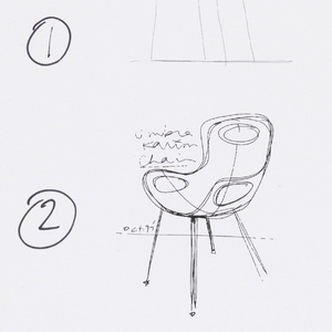 Four chairs in a vertical line showing the design process. Sarting at the top:  the first two designs show early and later hand drawn sketches.  The third shows a CAD blue and white-frame rendering of the chair.  The fourth and lowest shows a finished CAD rendering of the chair with a pale blue seat and shiny metallic legs.