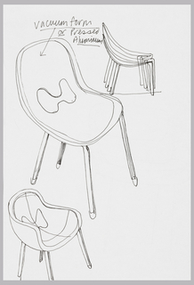 Three sketches, the largest in center showing a stacking chair in perspective.  The sketch in lower half of sheet shows similar chair but with sides and arm rests.  At top, a sketch showing five chairs in side elevation, stacked.  Verso:  design sketch for chair with side panels formed from continuation of seat.  The backrest is a horizontal panel supported on a perpendicular rod.