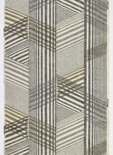 Panel of sheer white linen printed in brown and gray with a large-scale asymmetrical pattern of intersecting vertical and diagonal lines.