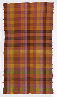 Square plaid in shades of red and orange with accents of yellow, black, brown and green.