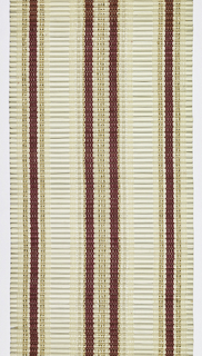 Window blind with rigid wefts. Warp in three groups striped red, gold and white. Wefts are a three-quarter inch diameter white half round that alternates with a one-eighth inch diameter white round reed.