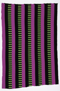 Apparel fabric with three alternating stripes of black, hot pink and green and black rectangles.