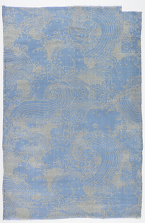 Length of printed silk with stylized waves and spindrift reminiscent of Japanese katagami stencil-resist textiles. Hand printed with discharge dyes, giving a white pattern on a blue ground.