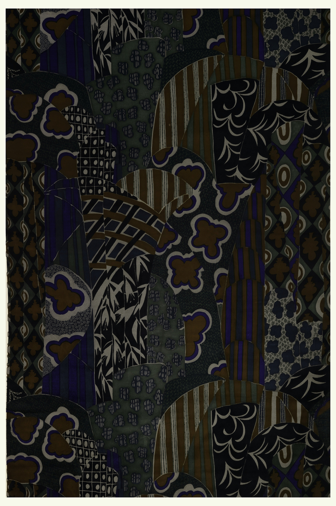 Bold pattern in bright blue, black, ochre, warm and cool neutrals of irregular shapes and sizes each patterned by small-scale all-over patterns which include bamboo, leaves, stripes, grids, and interlaces. The overall effect resembles swags and drapery.