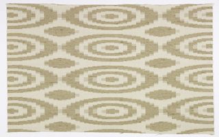 Allover pattern of a square arrangement of concentric ovals in white and beige.