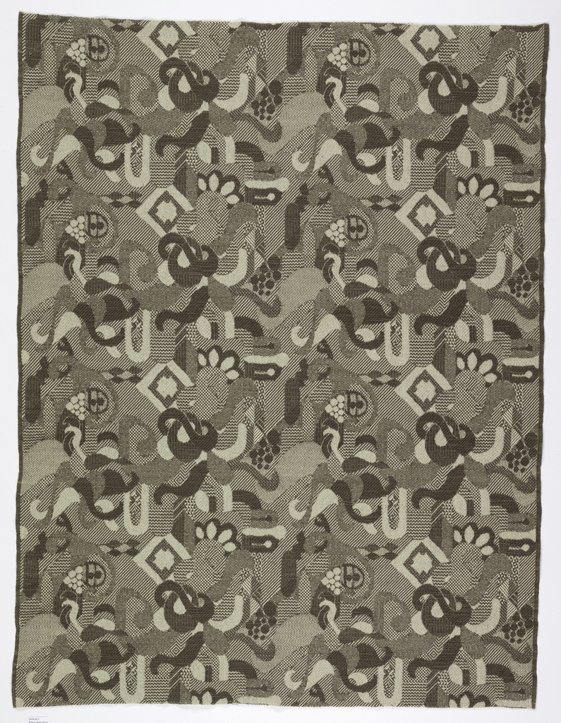 Straight repeat (two across width of fabric) of plant-like curvilinear forms and geometric shapes in light brown and white.