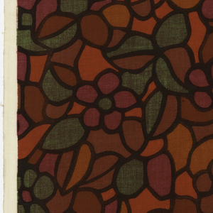 Straight repeat of overall floral pattern with leaves in green, rust, rose, orange and red. All shapes are heavily outlined in black, as in leaded glass.