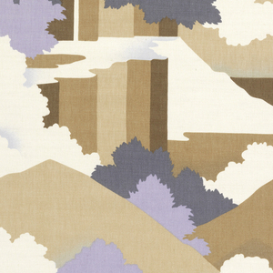 Straight repeat filling full width of fabric of a landscape with mountains, trees and clouds in muted colors.