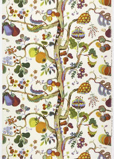 A slender tree trunk runs vertically down the center of this printed linen, with branches to each side sprouting exotic fruits and flowers. In many bright, clear colors on a white ground.