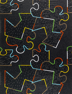 "Black ""puzzle pieces"" each containing a different design in khaki. The of edges of the pieces are defined in bright colors: red, yellow, green, blue.The design is non- directional."
