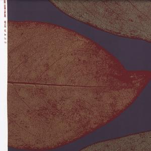 Large leaves with photographic detail of veining and texture, printed in olive green and deep red on a navy ground.