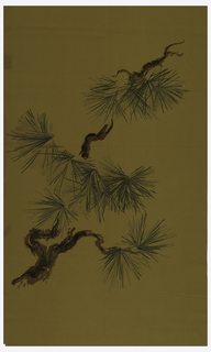 A non-repeating design of pine branches printed in brown, black and two shades of green on olive green felt.