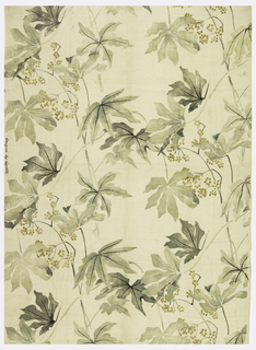 A design of scattered leaves and berries printed in shades of green on off-white foundation fabric.