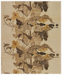 Large flowers and leaves on a thick stem running up the middle of the design and printed in shades of brown.