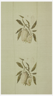 Design of fruit in the style of a botanical print in repeat.  Printed in black, green, brown and orange on light green.
