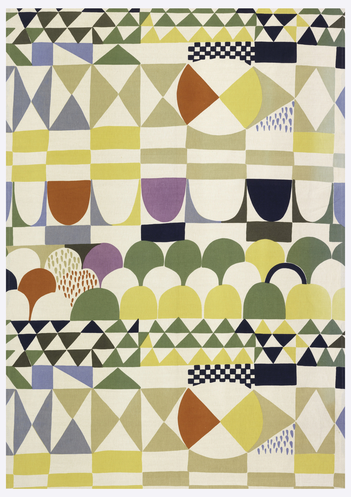 Large-scale geometric pattern with imbricated semi-circles, circles with wedges, diamonds, rectangles and squares, in navy and pale blue, green, yellow, burnt orange, lilac, and tan on a white ground.